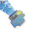 Personalised race enamel medals with ribbons