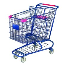 custom metal shopping push cart with wheels