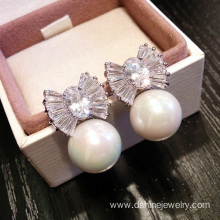 925 Silver Pearl Ear Studs Zircon White Pearl Earrings
