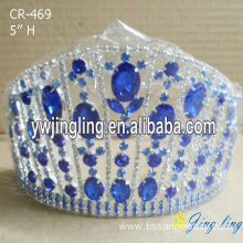 5 Inch sapphire blue big rhinestone pageant crowns