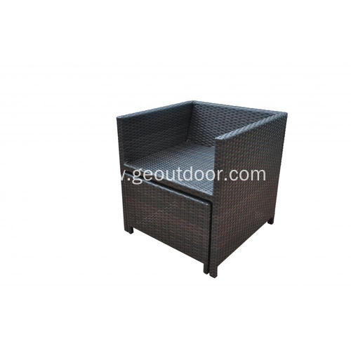 cube rattan weaving with aluminum frame dining set