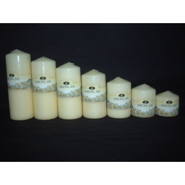Different Sizes of Ivory Pillar Candle
