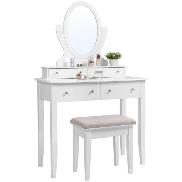 Vanity Table Set with Mirror and 4 Drawers, Wooden Makeup Dressing Table Mirrored Dresser