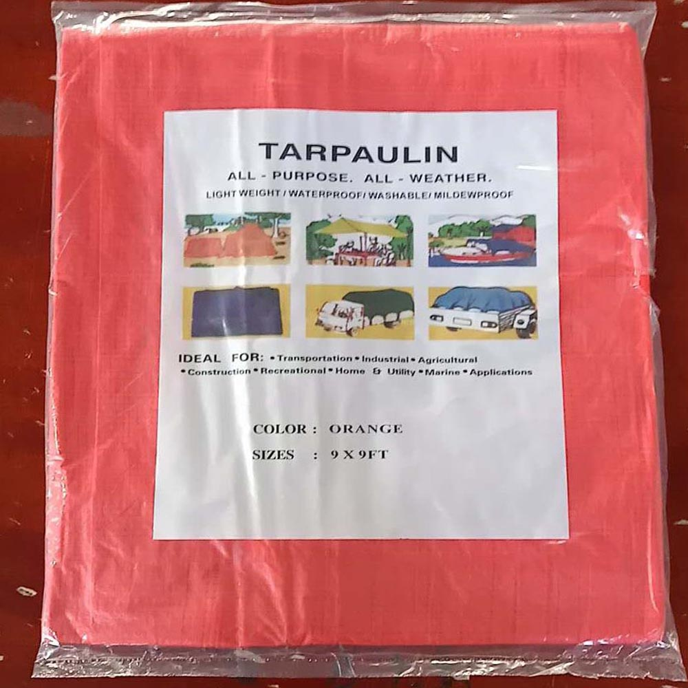 Light Weight Orange Tarpaulin with Eyelets