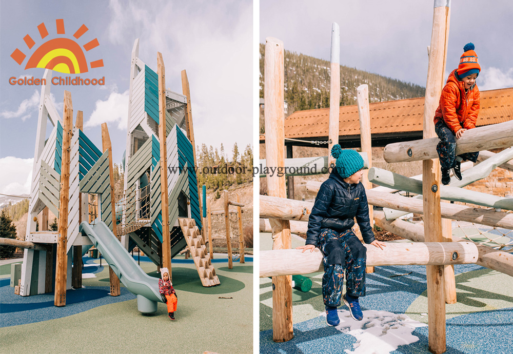 wooden climbing playground towers with slide