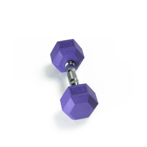 15LB Color Rubber Hex Dumbbell