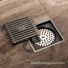 100% Original for Full Brass Floor Drain HIDEEP Bathroom Antique brass Shower Floor Drain export to Portugal Exporter