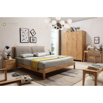 Banayad na Solid na Goma Wood Grey Cushion Bed