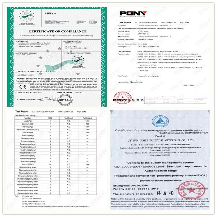 CERTIFICATION OF PVC PROFILE