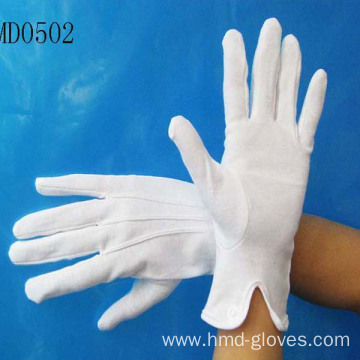 White Cotton Glove with Snap
