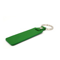 Custom Embossed Logo Green Color Saffiano Leather Keychain