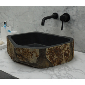 China Factory for for Marble Bathroom Sinks Hexagonal black granite sink export to United States Factories