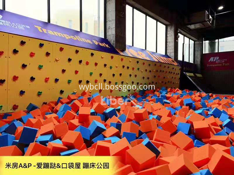Trampoline Park Foam Pit with Climbing Wall