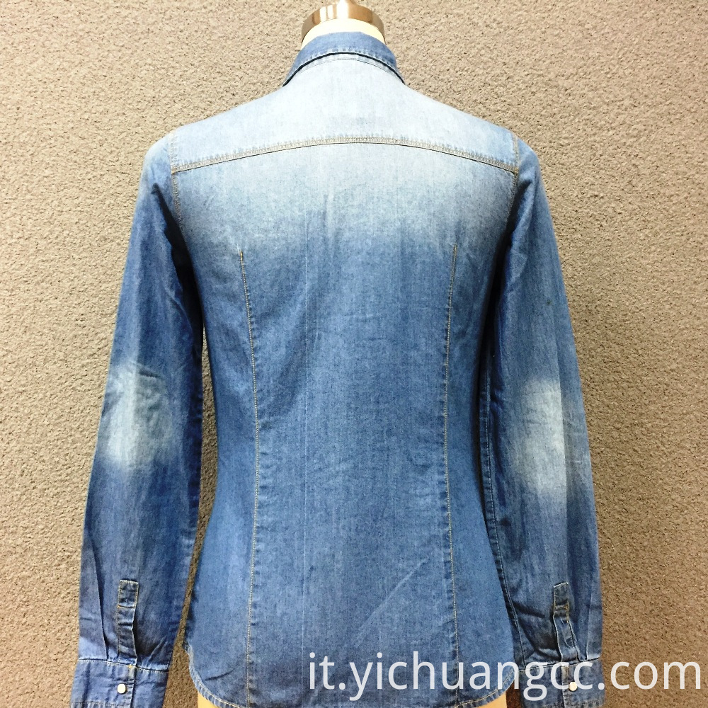 Women's cotton long sleeves denim shirt