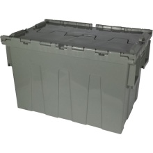 Hinged lidded plastic crate moulds