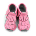 New Designs Genuine Leather Baby Tassels Sandals
