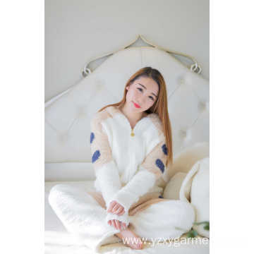 Soft fleece white bear hood pajama set