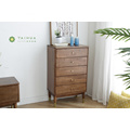 Solid Rubber Wood 5 Drawers Chest Slim Legs