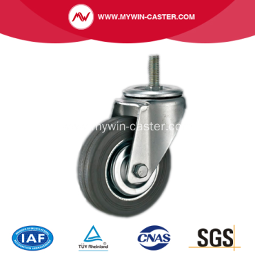4 Inch Threaded Stem Swivel Gray Rubber Iron Core Industrial Caster