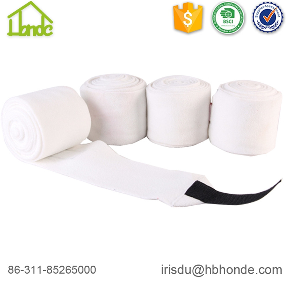 white polar fleece horse bandage