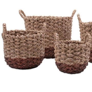 Home Furnishings Set of 4 Two-Toned Persimmon Hand Woven  storage Rush Baskets