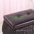 Faux Leather Lid Storage Ottoman with Bulrush Weave
