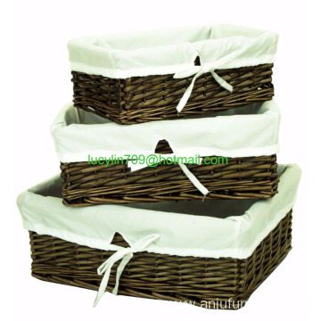 Set of 3 Wicker Shallow Storage Shop Display Basket Box with Cotton Liner