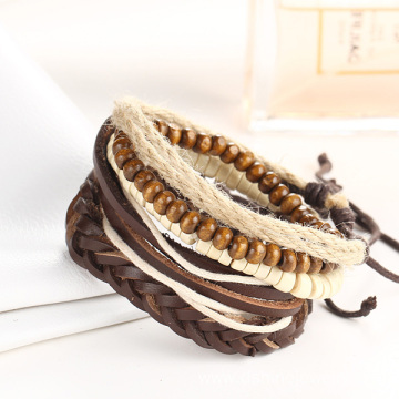 Good Quality for Black Leather Bracelet Wooden Beads Bracelet DIY Multi Layer Leather Wristbands export to Iran (Islamic Republic of) Factory