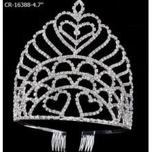 4.7 Inch Heart Clear Stone Queen Pageant Crown