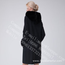 Women Lady Merino Shearling Coat With Mink Flower