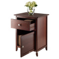 Antique Walnut Wood Night Stand Accent Table with Drawer and Cabinet for Storage