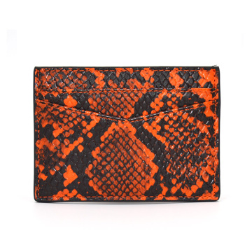 Exotic Real Python Skin Leather Credit Card Holder