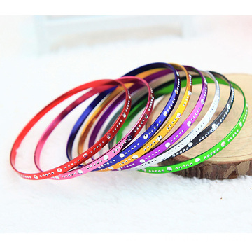 Wholesale Discount for Colorful  Aluminum Bangle Drop Engraved Metal Aluminum Bangles Cheap Bangles For Girls export to Samoa Factory