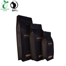 Biodegradable Custom Printed Coffee Bean Packaging Kraft Paper Flat Bottom Pouch With Zipper & Valve