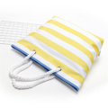Womens Yellow Large Striped Tote Canvas Beach Bags