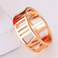 Ladies Stainless Steel Rose Gold Roman Numeral Ring