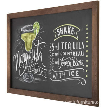 Vintage Wall Mounted Brown Wood Framed Chalkboard Sign