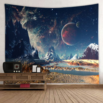 Starry Tapestry Galaxy Tapestry Night Sky Wall Hanging Snow Mountain Planet 3D Printing Wall Art for Living Room Bedroom Home Do