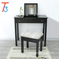 Vanity Table Set Makeup Jewelry Mirrored Dressing Table Stool Set, Black