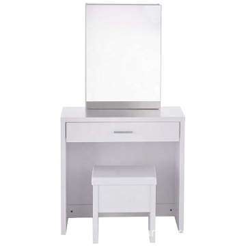 Lift-Top Stool Hidden Mirror Storage White Vanity Set