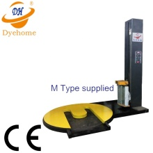 Pallet stretch wrapping machine with M type
