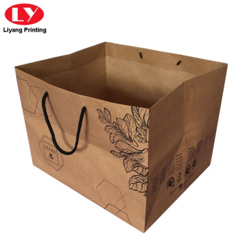 Kraft Paper Flower print Gift Bag Box