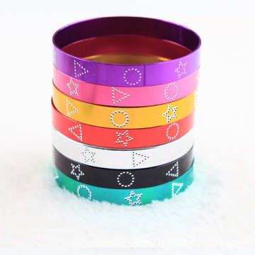 China for Colorful  Aluminum Bangle Multi Colors Aluminium Wide Bangles Metal Hand Bracelet supply to India Factory