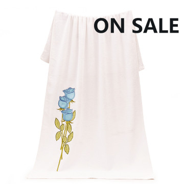 On Sale White Embroidered Peony Bath Towels Sheets