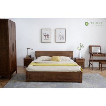 Dark Brown Rubber Wood Solid King Bedroom
