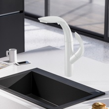 Matte White Pullout Sprayer Kitchen Sink Mixer Tap