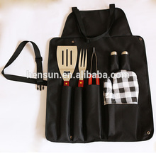 Outdoor Wooden Barbecue Gill Apron Set