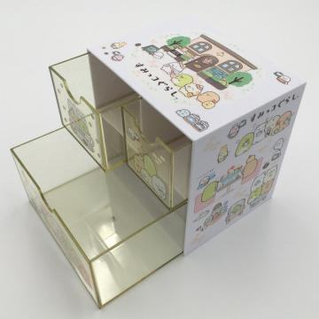 Plastic cube storage box with drawer