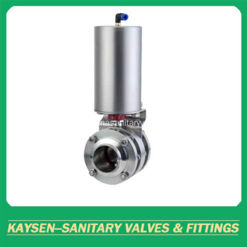 DIN Hygienic Pneumatic 3PCS Butterfly Valves Flanged