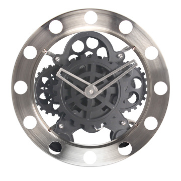Stain steel silver big black gear clock